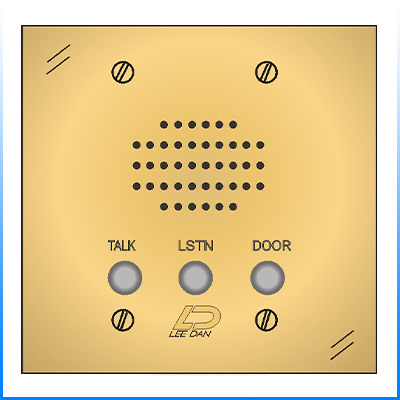 IR-207BRQL 4-Wire Flush Mount Lacquered Solid Polished Brass 2-Gang Apartment Intercom Station